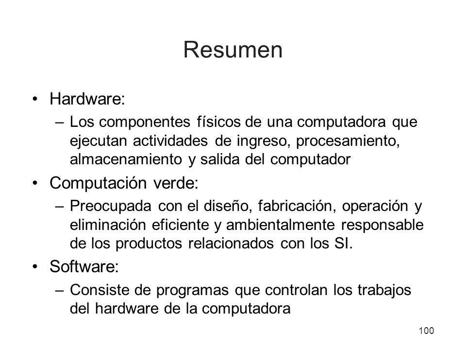 Resumen Hardware: –Los componentes físicos de una computadora que ejecutan actividades de ingreso, procesamiento, almacenamiento y salida del computad