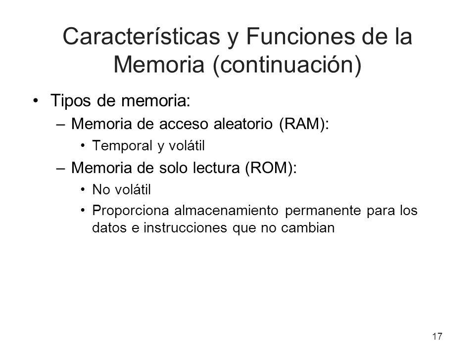 Tipos de memoria: –Memoria de acceso aleatorio (RAM): Temporal y volátil –Memoria de solo lectura (ROM): No volátil Proporciona almacenamiento permane
