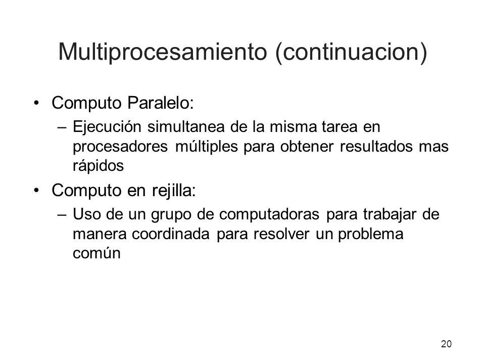 20 Multiprocesamiento (continuacion) Computo Paralelo: –Ejecución simultanea de la misma tarea en procesadores múltiples para obtener resultados mas r