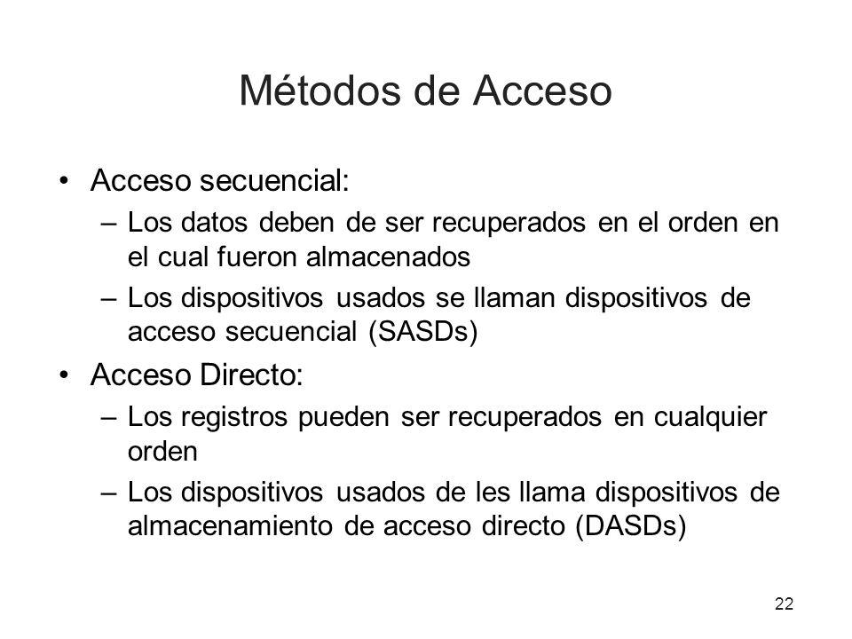 Métodos de Acceso Acceso secuencial: –Los datos deben de ser recuperados en el orden en el cual fueron almacenados –Los dispositivos usados se llaman