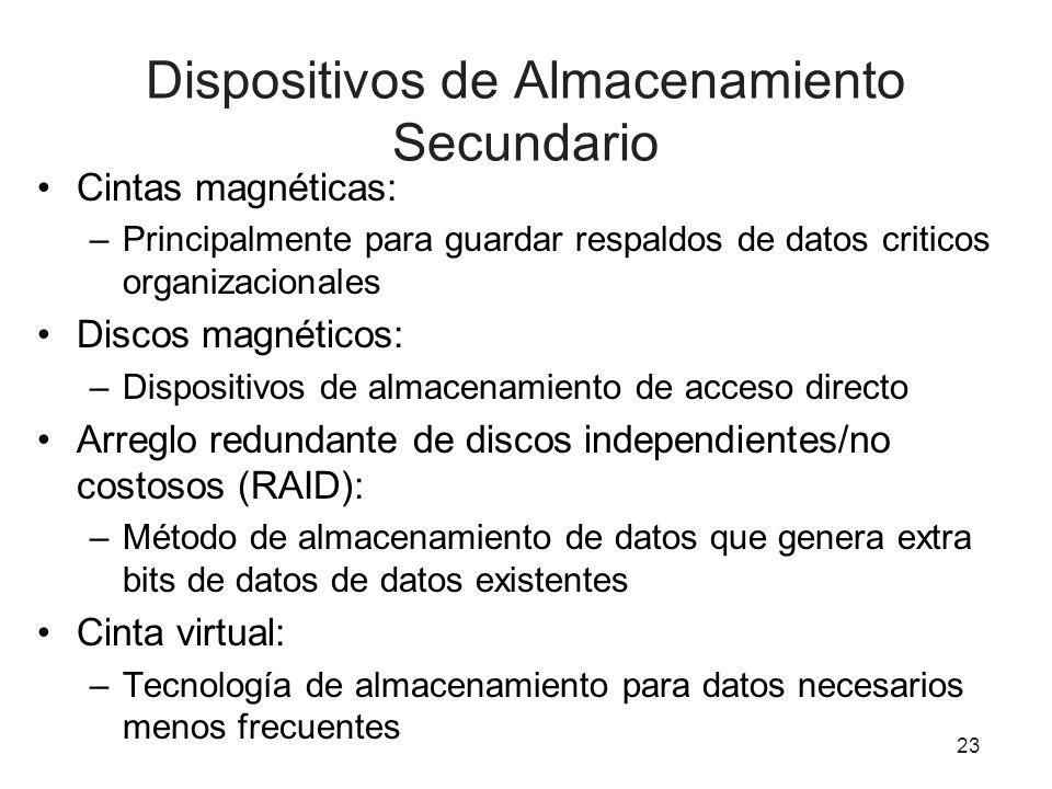 Dispositivos de Almacenamiento Secundario Cintas magnéticas: –Principalmente para guardar respaldos de datos criticos organizacionales Discos magnétic