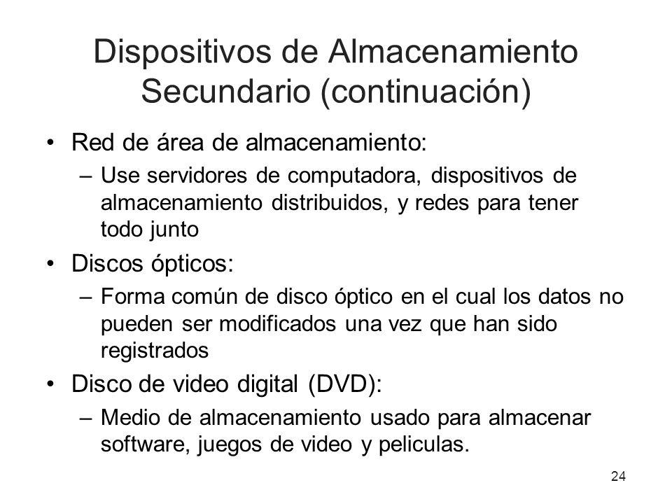 Dispositivos de Almacenamiento Secundario (continuación) Red de área de almacenamiento: –Use servidores de computadora, dispositivos de almacenamiento