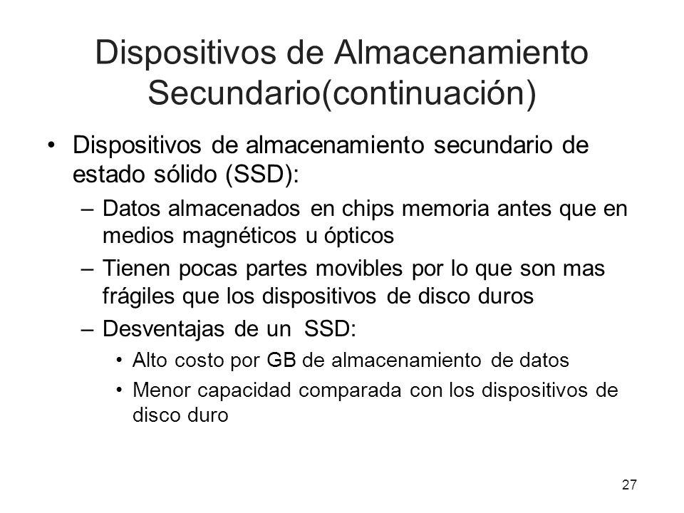 Dispositivos de Almacenamiento Secundario(continuación) Dispositivos de almacenamiento secundario de estado sólido (SSD): –Datos almacenados en chips