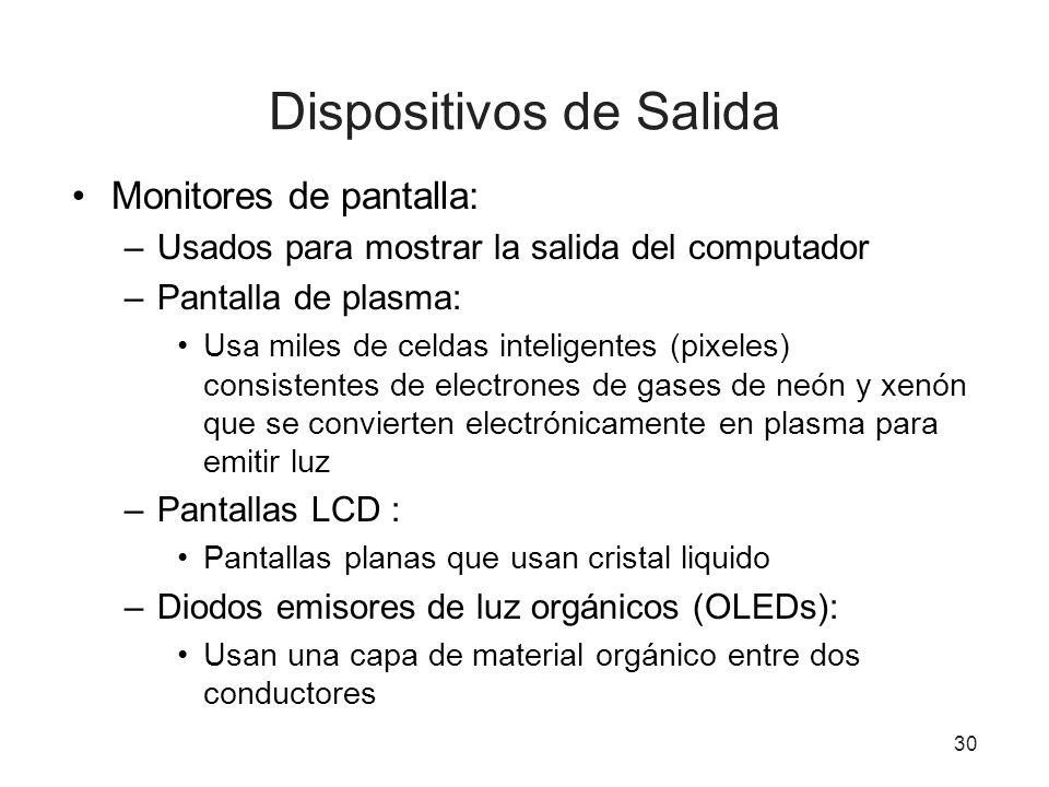 30 Dispositivos de Salida Monitores de pantalla: –Usados para mostrar la salida del computador –Pantalla de plasma: Usa miles de celdas inteligentes (