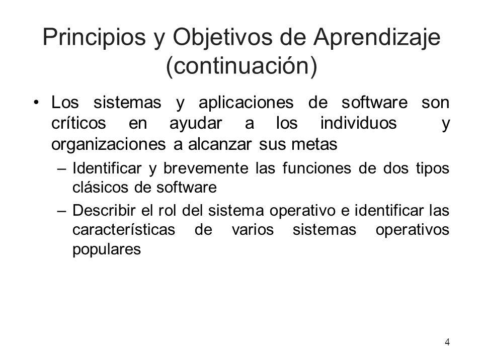 Principios y Objetivos de Aprendizaje (continuación) Los sistemas y aplicaciones de software son críticos en ayudar a los individuos y organizaciones