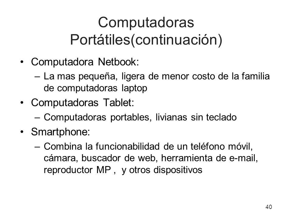 Computadoras Portátiles(continuación) Computadora Netbook: –La mas pequeña, ligera de menor costo de la familia de computadoras laptop Computadoras Ta