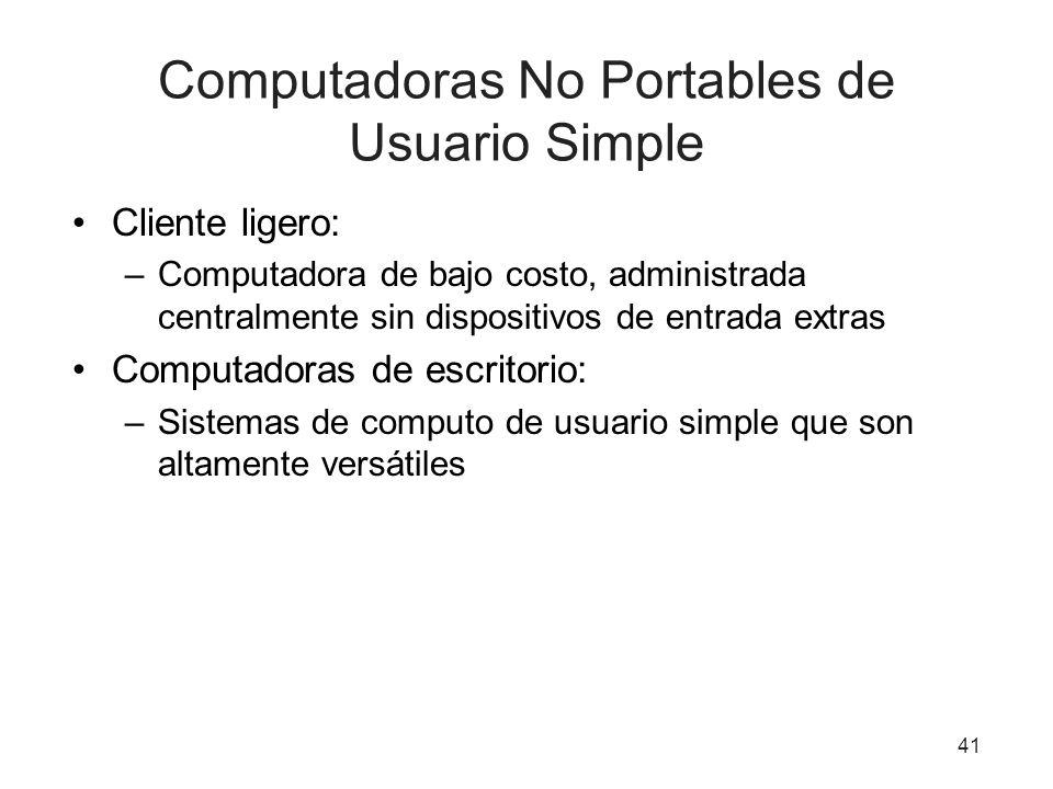 Computadoras No Portables de Usuario Simple Cliente ligero: –Computadora de bajo costo, administrada centralmente sin dispositivos de entrada extras C