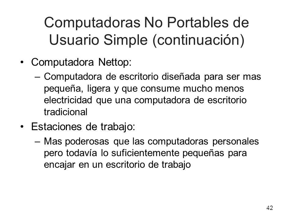 Computadoras No Portables de Usuario Simple (continuación) Computadora Nettop: –Computadora de escritorio diseñada para ser mas pequeña, ligera y que