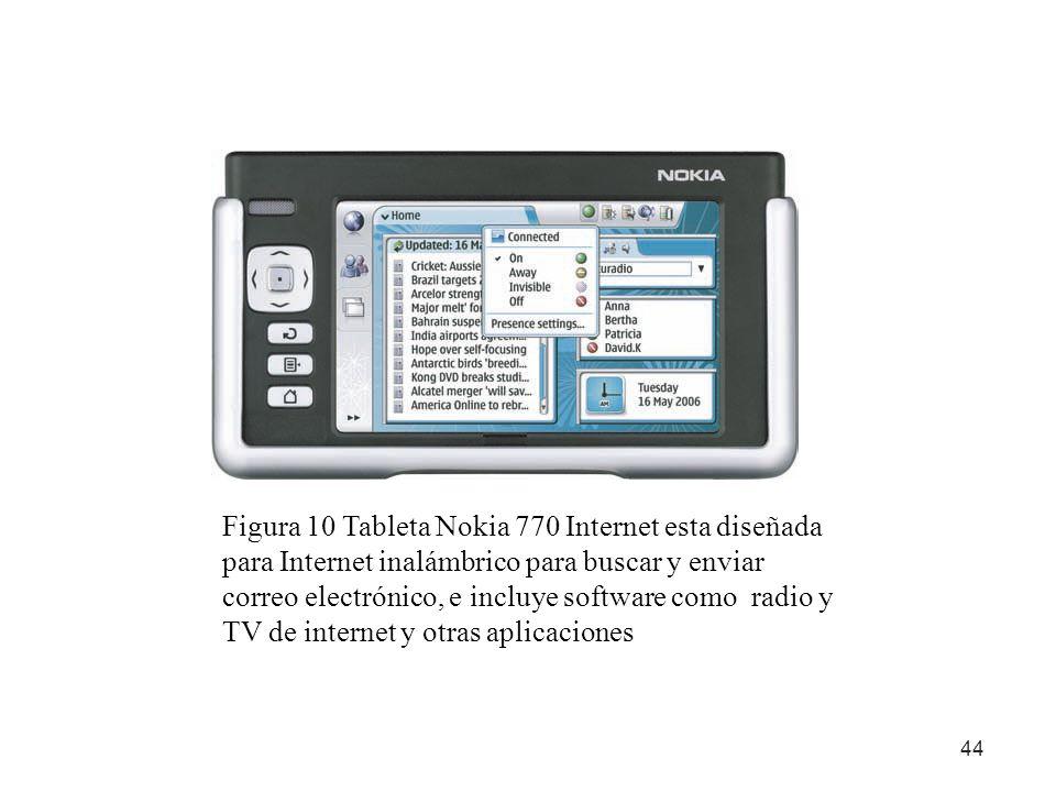 44 Figura 10 Tableta Nokia 770 Internet esta diseñada para Internet inalámbrico para buscar y enviar correo electrónico, e incluye software como radio
