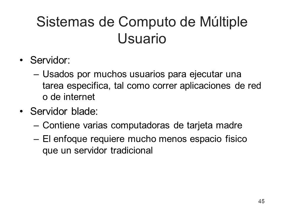 Sistemas de Computo de Múltiple Usuario Servidor: –Usados por muchos usuarios para ejecutar una tarea especifica, tal como correr aplicaciones de red