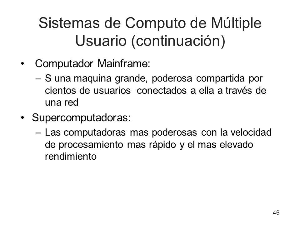Sistemas de Computo de Múltiple Usuario (continuación) Computador Mainframe: –S una maquina grande, poderosa compartida por cientos de usuarios conect