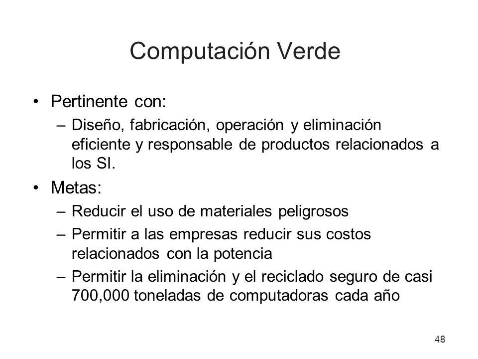 Computación Verde Pertinente con: –Diseño, fabricación, operación y eliminación eficiente y responsable de productos relacionados a los SI. Metas: –Re