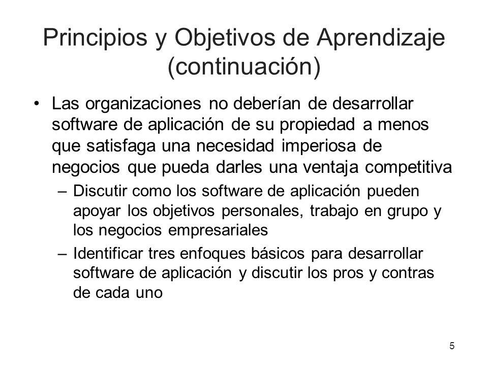 Principios y Objetivos de Aprendizaje (continuación) Las organizaciones no deberían de desarrollar software de aplicación de su propiedad a menos que