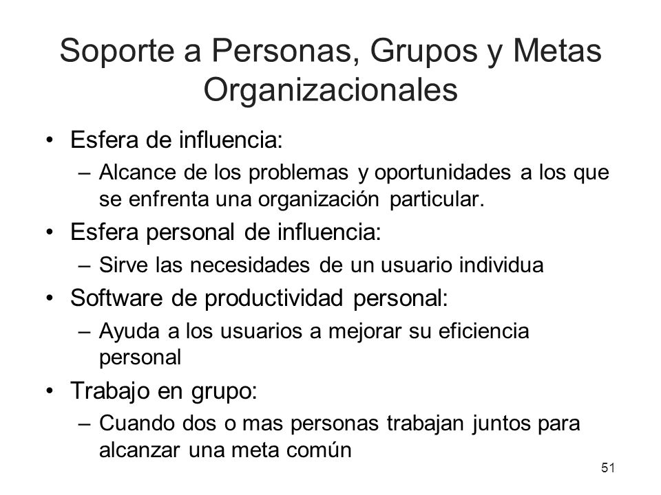 Soporte a Personas, Grupos y Metas Organizacionales Esfera de influencia: –Alcance de los problemas y oportunidades a los que se enfrenta una organiza
