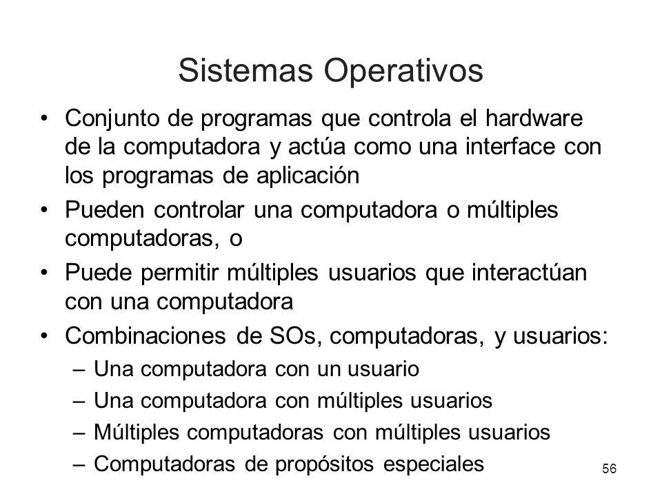 56 Sistemas Operativos Conjunto de programas que controla el hardware de la computadora y actúa como una interface con los programas de aplicación Pue