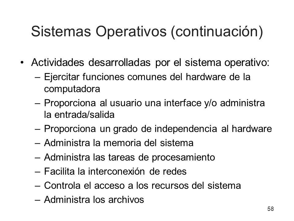 Sistemas Operativos (continuación) Actividades desarrolladas por el sistema operativo: –Ejercitar funciones comunes del hardware de la computadora –Pr