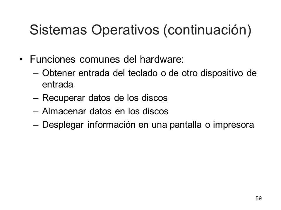 59 Sistemas Operativos (continuación) Funciones comunes del hardware: –Obtener entrada del teclado o de otro dispositivo de entrada –Recuperar datos d