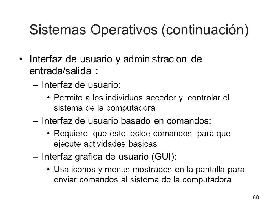 60 Sistemas Operativos (continuación) Interfaz de usuario y administracion de entrada/salida : –Interfaz de usuario: Permite a los individuos acceder
