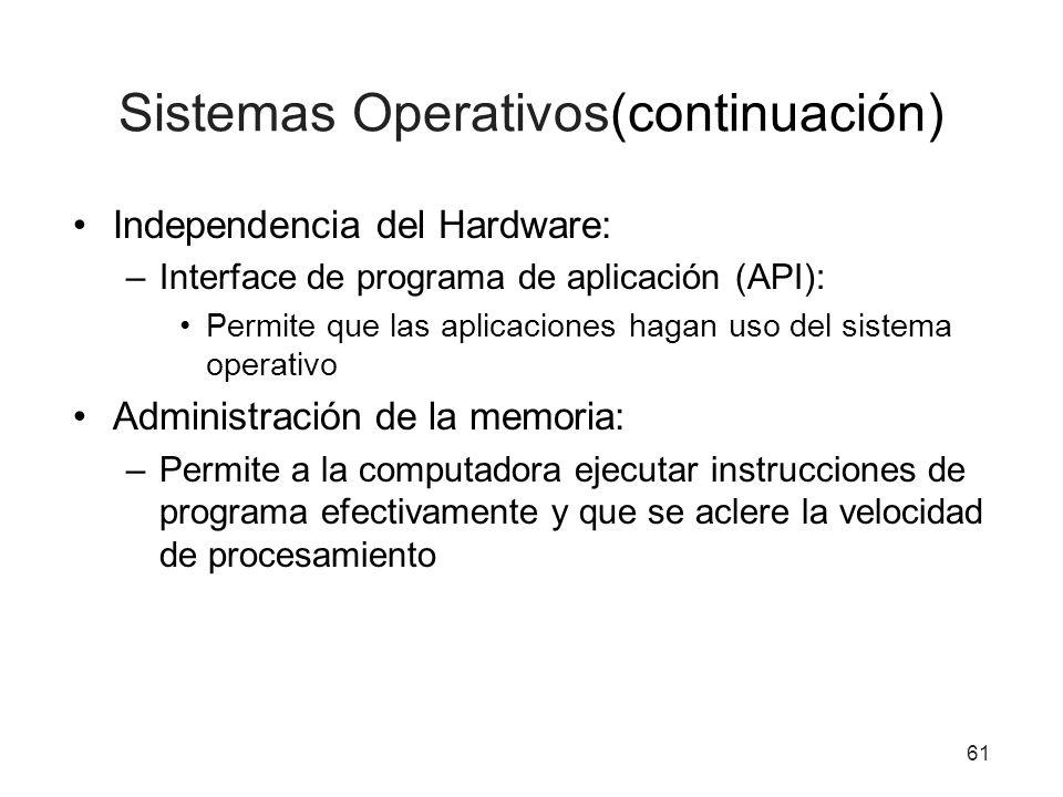 61 Sistemas Operativos(continuación) Independencia del Hardware: –Interface de programa de aplicación (API): Permite que las aplicaciones hagan uso de