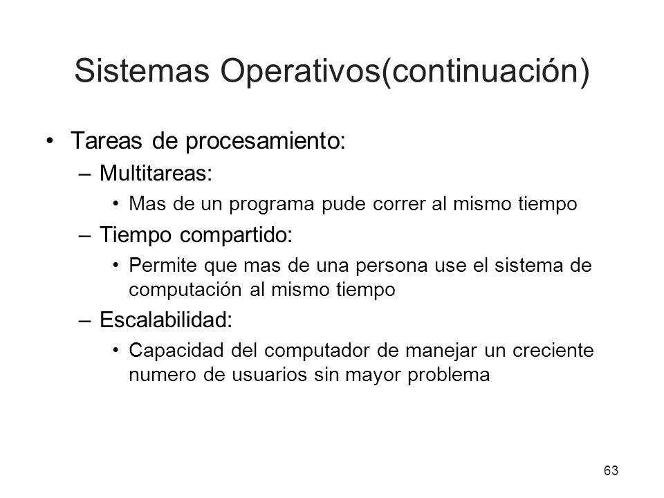 Tareas de procesamiento: –Multitareas: Mas de un programa pude correr al mismo tiempo –Tiempo compartido: Permite que mas de una persona use el sistem
