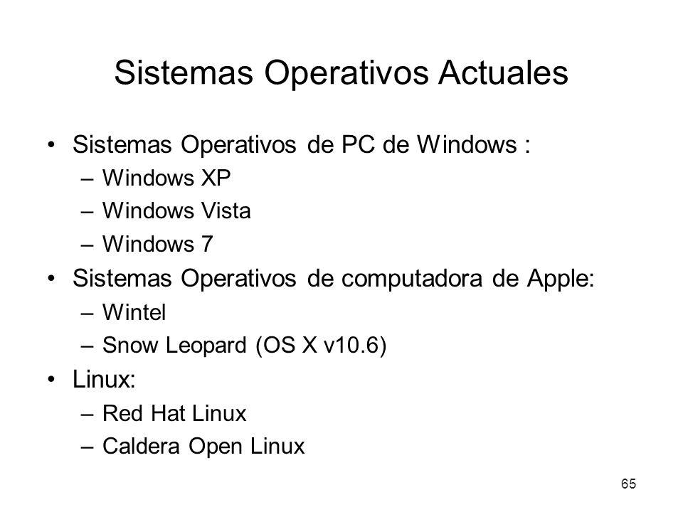Sistemas Operativos Actuales Sistemas Operativos de PC de Windows : –Windows XP –Windows Vista –Windows 7 Sistemas Operativos de computadora de Apple: