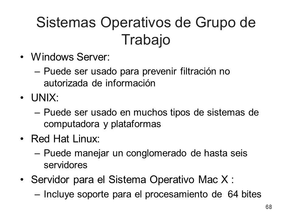 Sistemas Operativos de Grupo de Trabajo Windows Server: –Puede ser usado para prevenir filtración no autorizada de información UNIX: –Puede ser usado