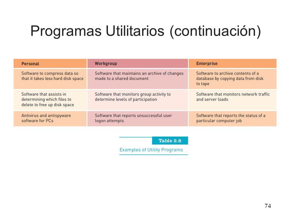 Programas Utilitarios (continuación) 74