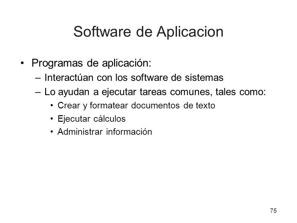 75 Software de Aplicacion Programas de aplicación: –Interactúan con los software de sistemas –Lo ayudan a ejecutar tareas comunes, tales como: Crear y