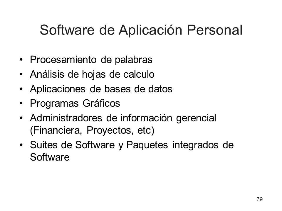 Software de Aplicación Personal Procesamiento de palabras Análisis de hojas de calculo Aplicaciones de bases de datos Programas Gráficos Administrador