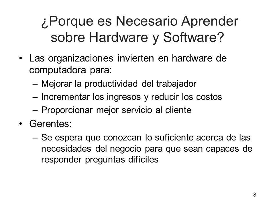 ¿Porque es Necesario Aprender sobre Hardware y Software? Las organizaciones invierten en hardware de computadora para: –Mejorar la productividad del t