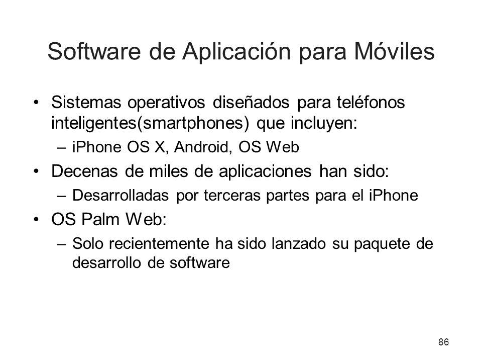 Software de Aplicación para Móviles Sistemas operativos diseñados para teléfonos inteligentes(smartphones) que incluyen: –iPhone OS X, Android, OS Web