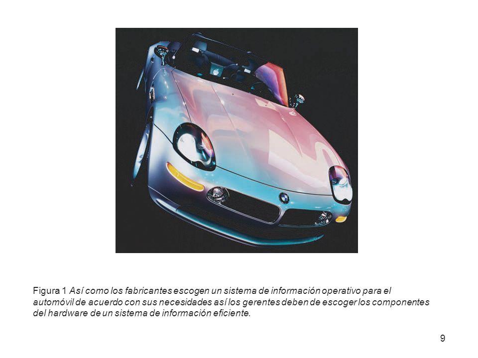 Figura 1 Así como los fabricantes escogen un sistema de información operativo para el automóvil de acuerdo con sus necesidades así los gerentes deben