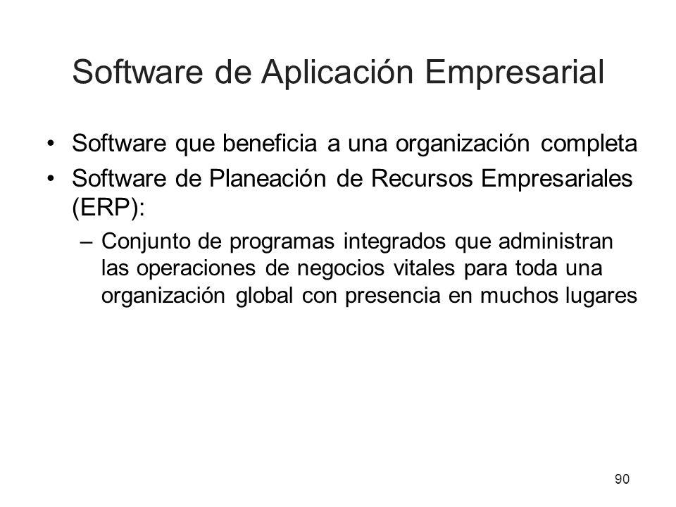 Software de Aplicación Empresarial Software que beneficia a una organización completa Software de Planeación de Recursos Empresariales (ERP): –Conjunt