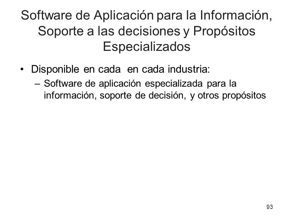 Software de Aplicación para la Información, Soporte a las decisiones y Propósitos Especializados Disponible en cada en cada industria: –Software de ap