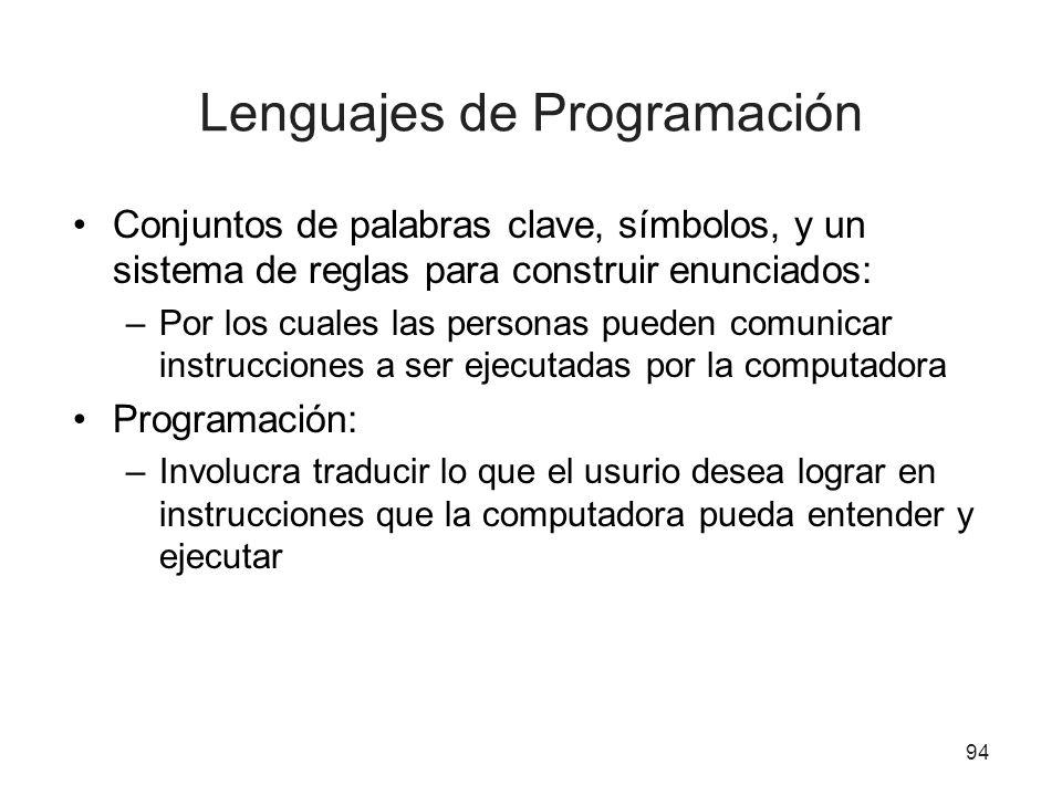 Lenguajes de Programación Conjuntos de palabras clave, símbolos, y un sistema de reglas para construir enunciados: –Por los cuales las personas pueden
