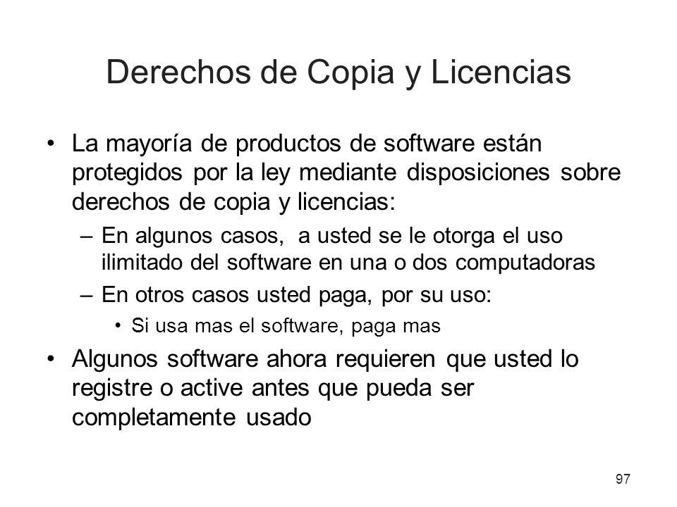 Derechos de Copia y Licencias La mayoría de productos de software están protegidos por la ley mediante disposiciones sobre derechos de copia y licenci