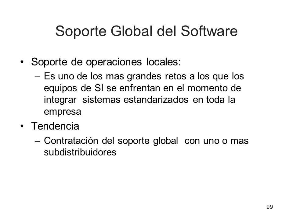Soporte Global del Software Soporte de operaciones locales: –Es uno de los mas grandes retos a los que los equipos de SI se enfrentan en el momento de