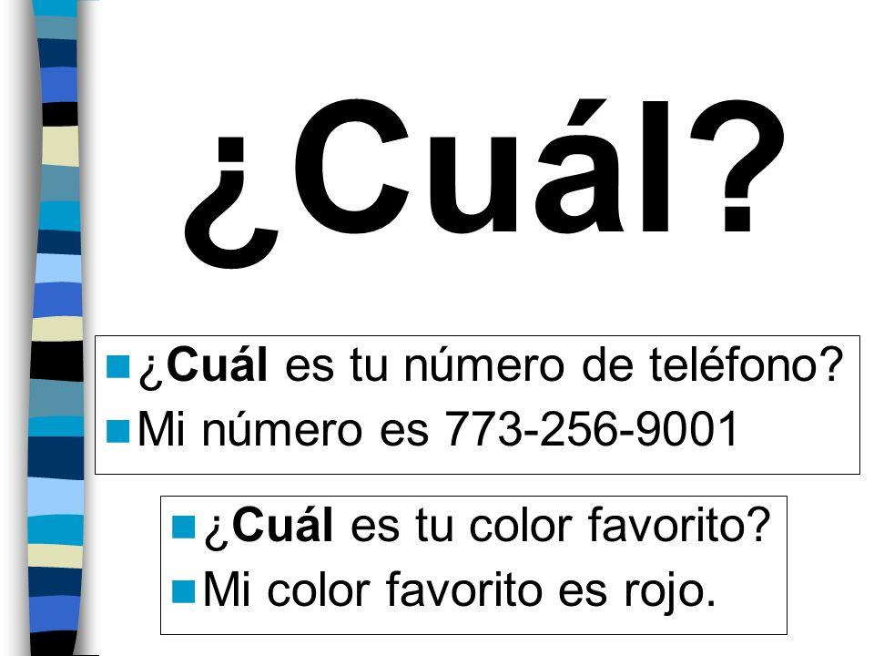 ¿Cuál? ¿Cuál es tu número de teléfono? Mi número es 773-256-9001 ¿Cuál es tu color favorito? Mi color favorito es rojo.