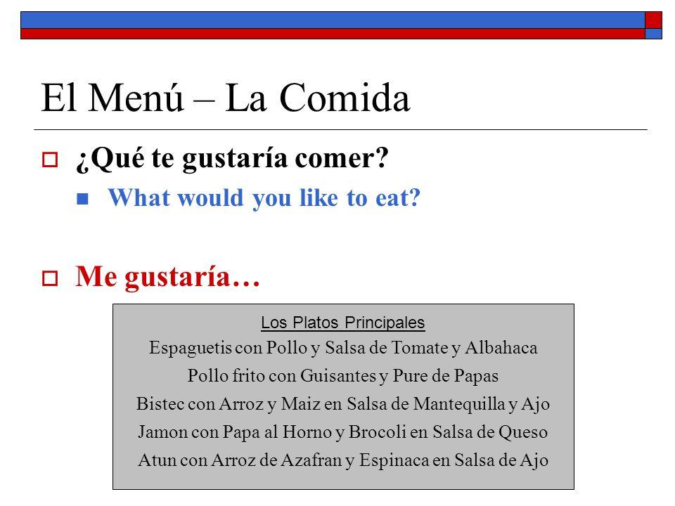 El Menú – La Comida ¿Qué te gustaría comer? What would you like to eat? Me gustaría… Los Platos Principales Espaguetis con Pollo y Salsa de Tomate y A