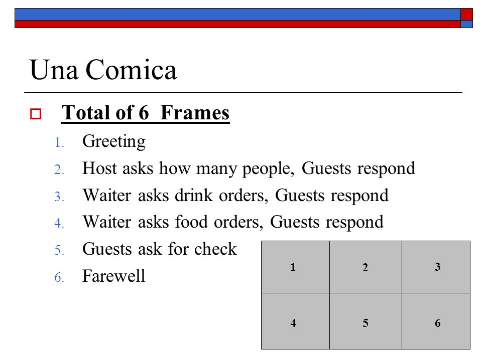 Una Comica Total of 6 Frames 1. Greeting 2. Host asks how many people, Guests respond 3. Waiter asks drink orders, Guests respond 4. Waiter asks food