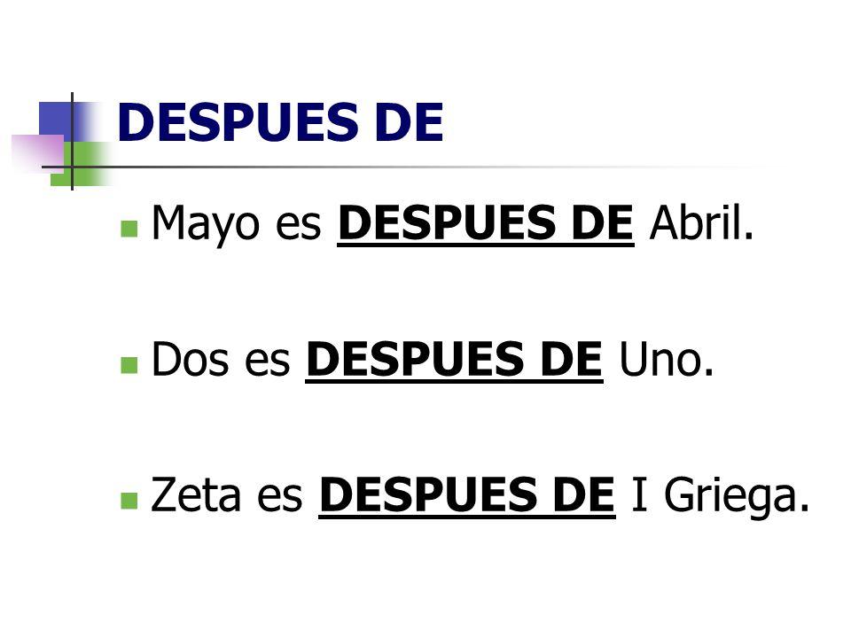 DESPUES DE Mayo es DESPUES DE Abril. Dos es DESPUES DE Uno. Zeta es DESPUES DE I Griega.