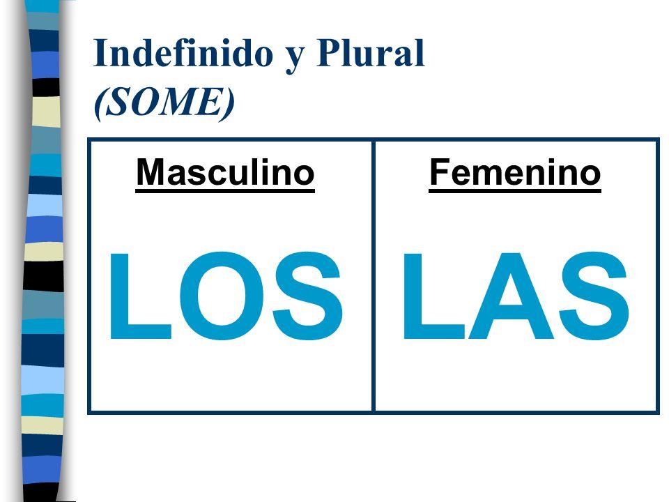 Indefinido y Plural (SOME) Masculino LOS Femenino LAS