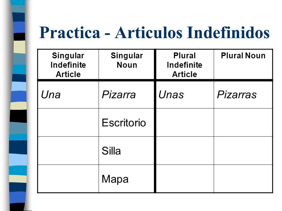 Practica - Articulos Indefinidos Singular Indefinite Article Singular Noun Plural Indefinite Article Plural Noun UnaPizarraUnasPizarras Escritorio Silla Mapa