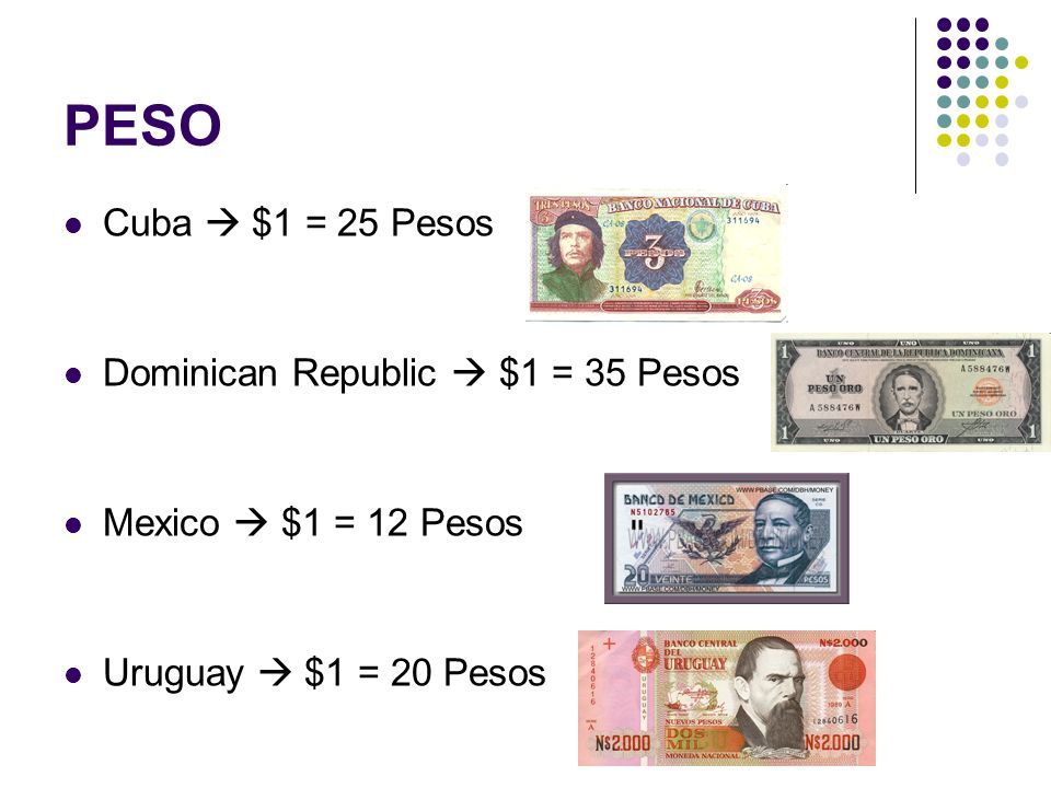 PESO Cuba $1 = 25 Pesos Dominican Republic $1 = 35 Pesos Mexico $1 = 12 Pesos Uruguay $1 = 20 Pesos