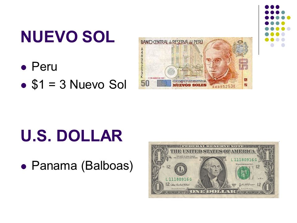 U.S. DOLLAR Panama (Balboas) NUEVO SOL Peru $1 = 3 Nuevo Sol