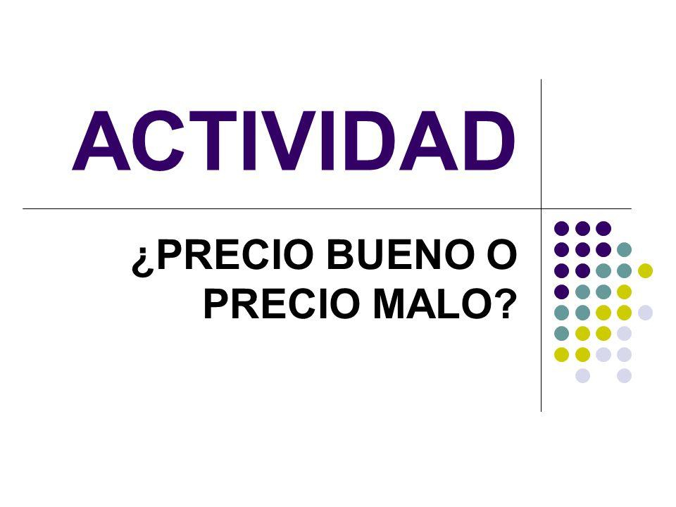 ACTIVIDAD ¿PRECIO BUENO O PRECIO MALO?