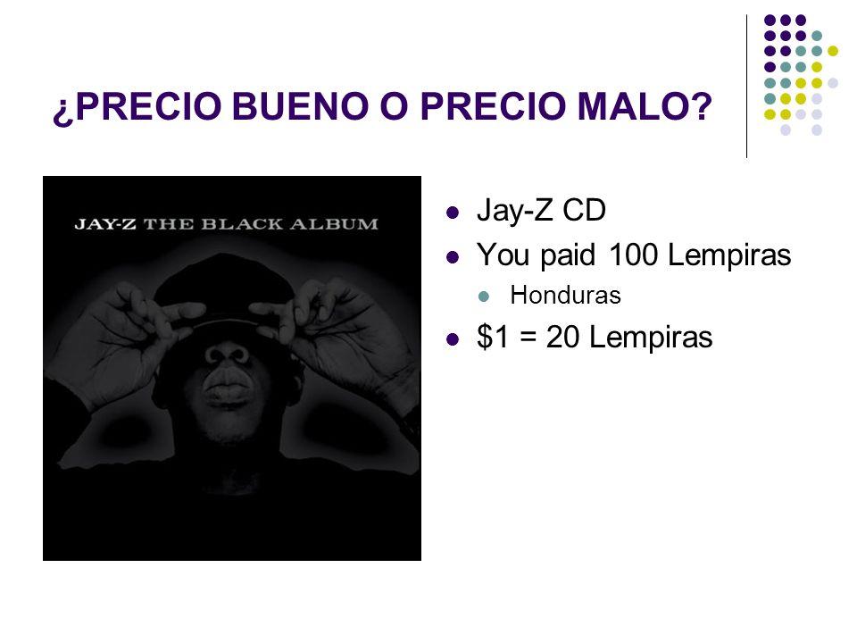 Jay-Z CD You paid 100 Lempiras Honduras $1 = 20 Lempiras ¿PRECIO BUENO O PRECIO MALO?