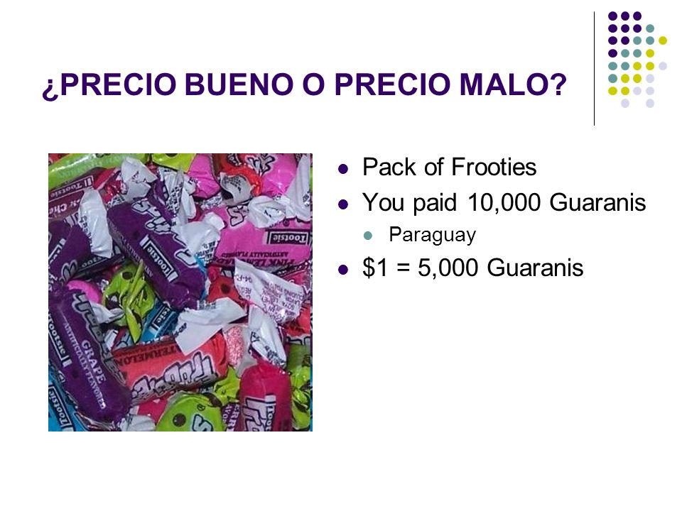 Pack of Frooties You paid 10,000 Guaranis Paraguay $1 = 5,000 Guaranis ¿PRECIO BUENO O PRECIO MALO