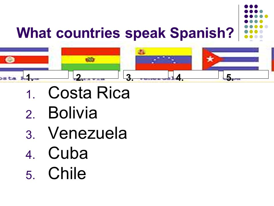 What countries speak Spanish 1. Costa Rica 2. Bolivia 3. Venezuela 4. Cuba 5. Chile 1.2.3.4.5.