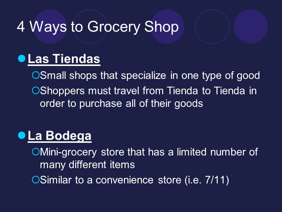 4 Ways to Grocery Shop Las Tiendas Small shops that specialize in one type of good Shoppers must travel from Tienda to Tienda in order to purchase all of their goods La Bodega Mini-grocery store that has a limited number of many different items Similar to a convenience store (i.e.
